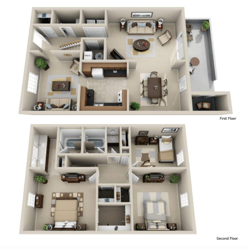 Strawberry Hill 3 bedroom/2.5 bath Treasure townhome floor plan