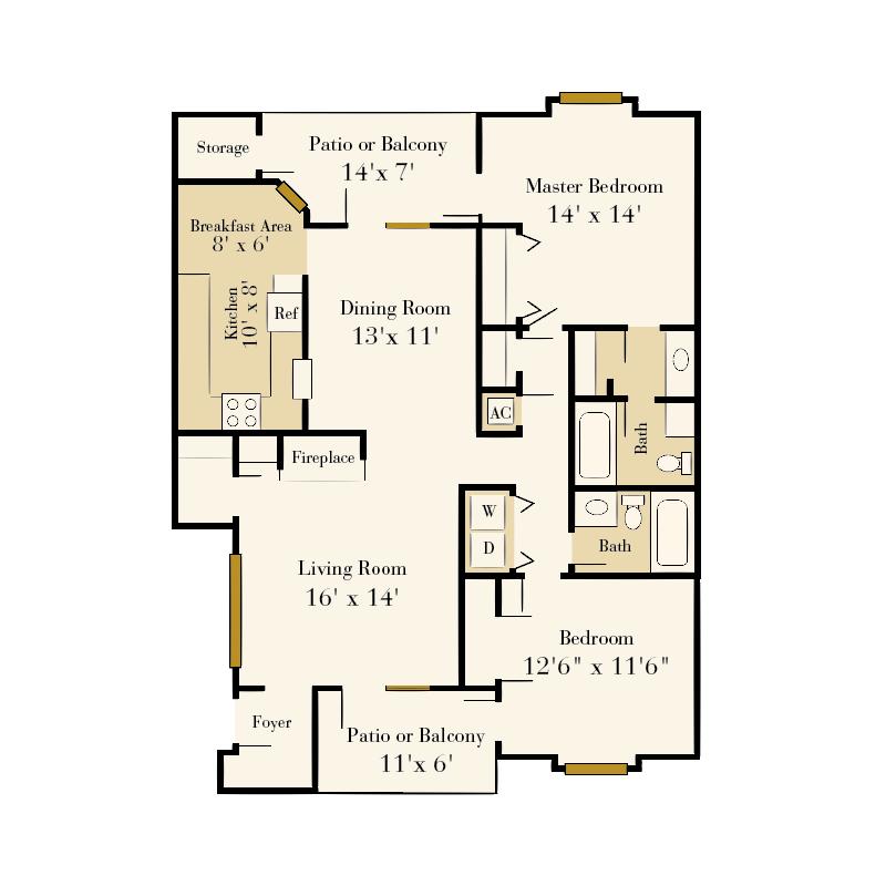 Strawberry Hill 2 bedroom/2 bath Walker garden apartment floor plan