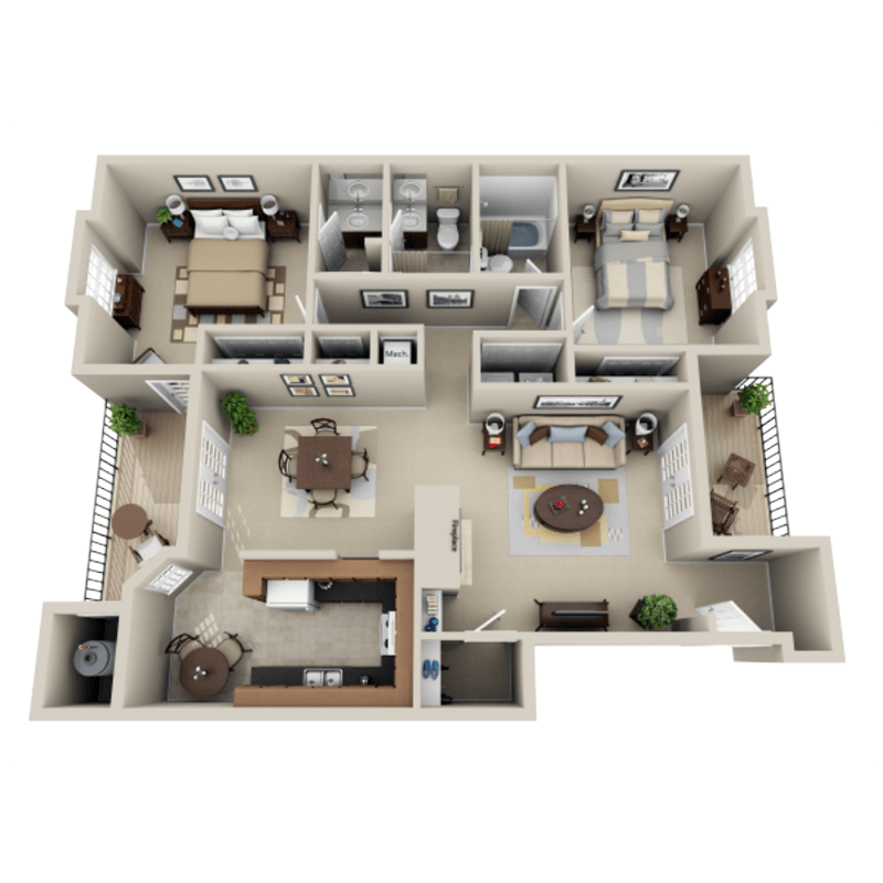 Strawberry Hill 2 bedroom/2 bath Walker garden apartment floor plan
